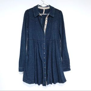 Free People western Buttondown dress s small